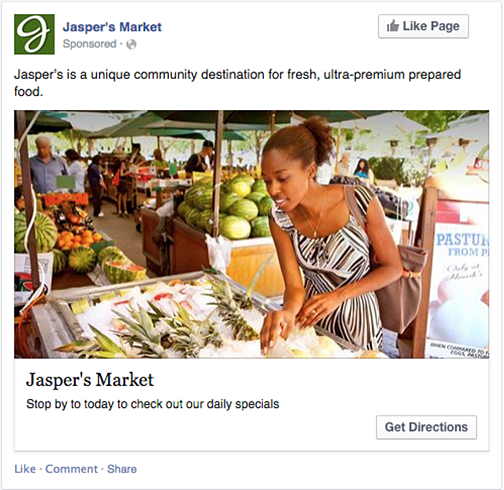 Jasper's Market Facebook post. Jasper's is a unique community destination for fresh, ultra-premium prepared food. Photo of a woman shopping for produce at an outdoor market. Stop by Jasper's Market today to checkout our daily specials. Click here to get directions.