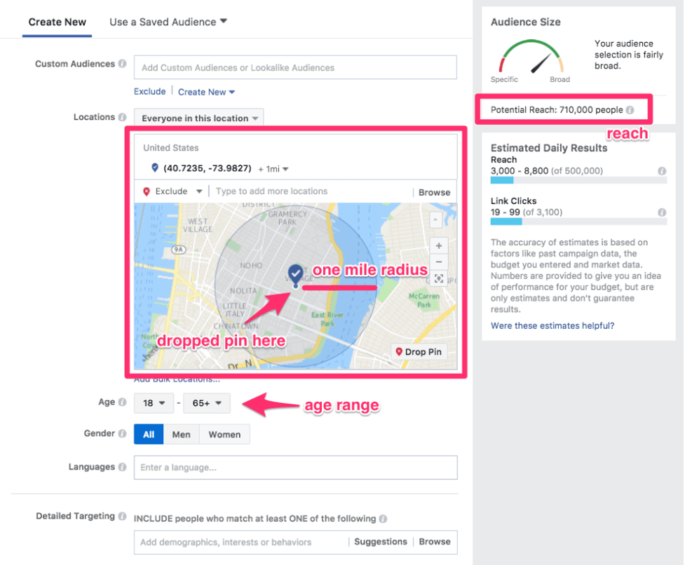 Facebook Ads Manager. Locations: One mile radius. Age range: 18-65+. Potential reach: 710,000 people.