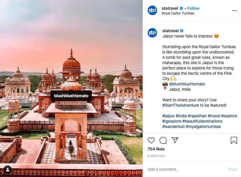 STA Travel Instagram Post
