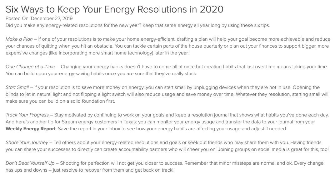 Stream Energy 6 ways to keep energy resolutions