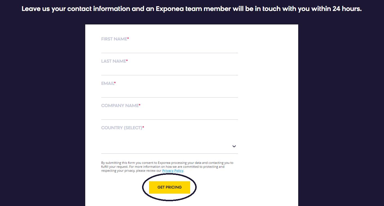 Exponea contact form